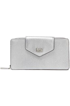 MICHAEL MICHAEL KORS Logo-embellished metallic textured-leather wallet
