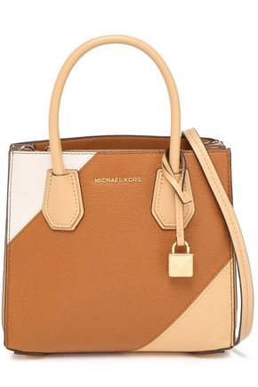 MICHAEL MICHAEL KORS Color-block smooth and textured-leather shoulder bag