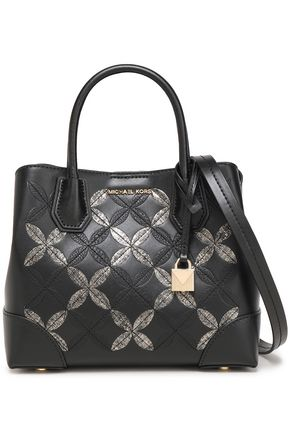 MICHAEL MICHAEL KORS Small embroidered metallic leather shoulder bag