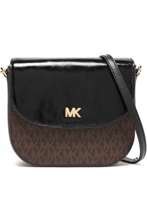 MICHAEL MICHAEL KORS Monogram-print faux patent and textured-leather shoulder bag