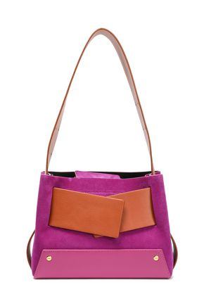 YUZEFI Biggy color-block textured-leather and suede shoulder bag