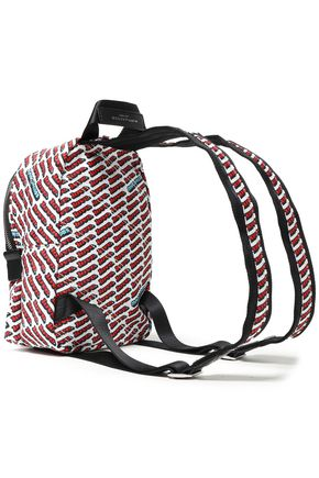 MARC JACOBS Faux leather-trimmed printed shell backpack