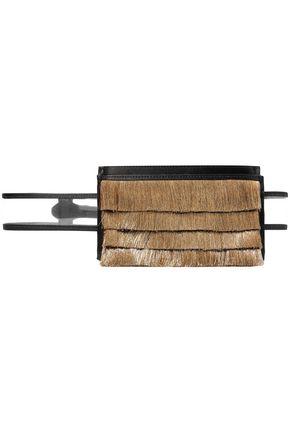 SANAYI 313 Metallic fringe-trimmed satin and PVC belt bag