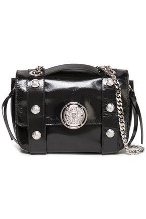 BALMAIN Be Soft embellished cracked patent-leather shoulder bag
