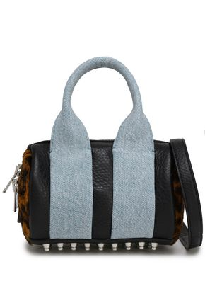 ALEXANDER WANG Paneled calf-hair, pebbled-leather and denim shoulder bag