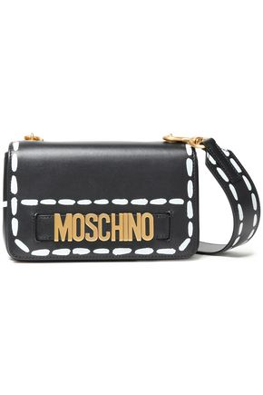 MOSCHINO Embellished painted leather shoulder bag