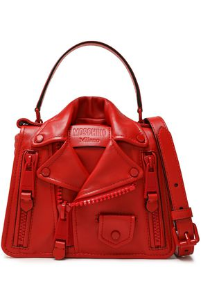 MOSCHINO Studded zip-detailed leather shoulder bag