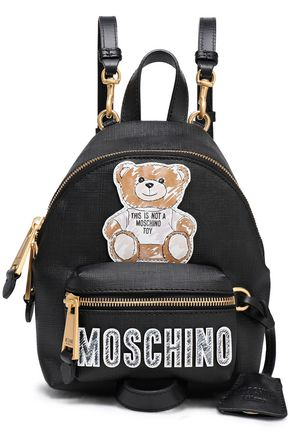 MOSCHINO Logo-appliquéd printed faux textured-leather backpack