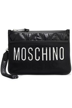 MOSCHINO Scuba-paneled logo-embellished quilted shell envelope clutch