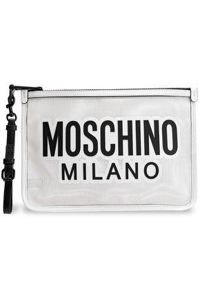 MOSCHINO Appliquéd PVC woven clutch