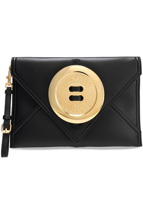 MOSCHINO Button-embellished leather envelope clutch