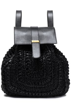 ALBERTA FERRETTI Braided and textured-leather backpack