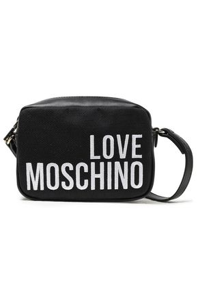 LOVE MOSCHINO Embroidered paneled canvas and faux leather shoulder bag