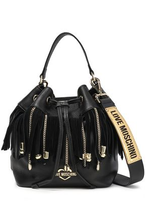 LOVE MOSCHINO Fringed chain-trimmed logo-embellished textured-leather bucket bag