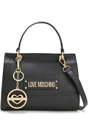 LOVE MOSCHINO Logo-embellished textured-leather shoulder bag