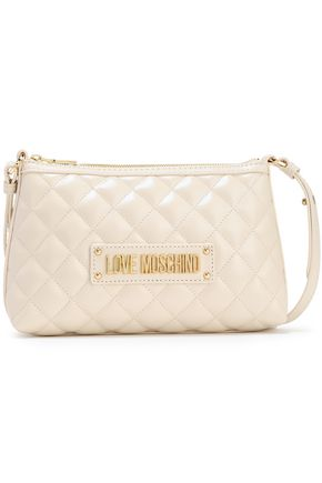 LOVE MOSCHINO Logo-embellished studded quilted faux leather shoulder bag