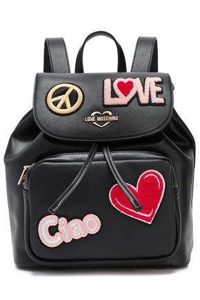 LOVE MOSCHINO Appliquéd faux leather backpack