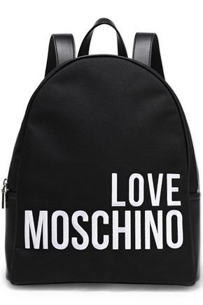 LOVE MOSCHINO Faux leather-trimmed logo-print canvas backpack