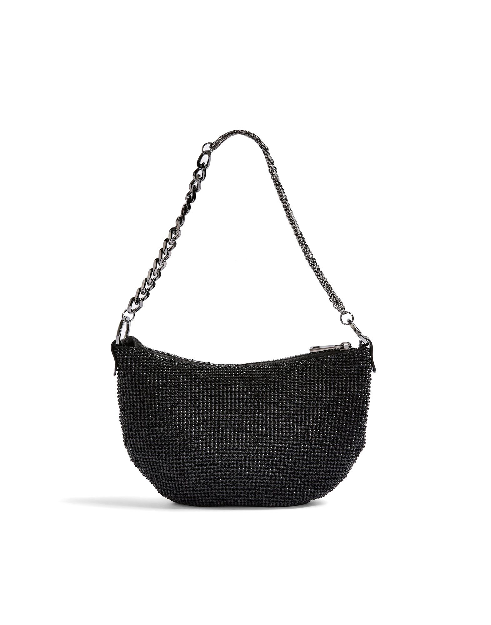 《セール開催中》TOPSHOP レディース ハンドバッグ ブラック アルミニウム 100% SHAZ DIAMANTE SLOUCH SHOULDER BAG