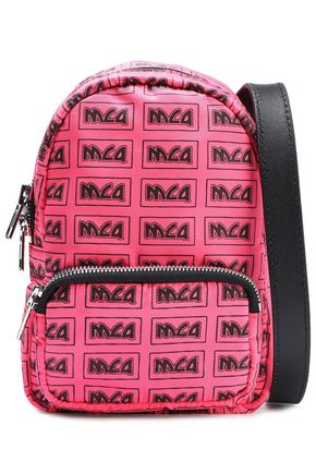 McQ Alexander McQueen Leather-trimmed monogram-print neon shell shoulder bag
