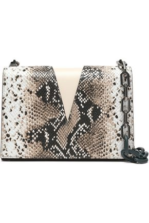 THE VOLON Paneled snake-effect and smooth-leather shoulder bag