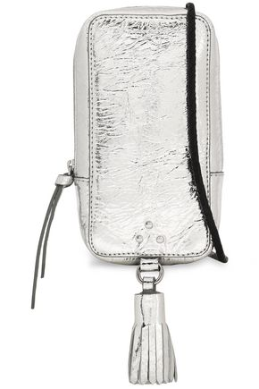 JÉRÔME DREYFUSS Tasseled metallic cracked-leather shoulder bag