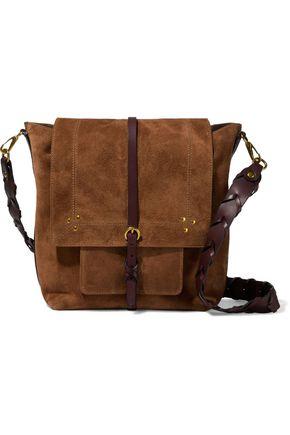 JÉRÔME DREYFUSS Buckle-detailed leather-trimmed suede shoulder bag