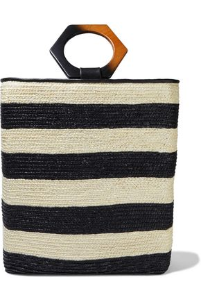 EUGENIA KIM Margaux leather-trimmed striped straw tote