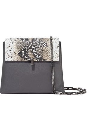 THE VOLON PO Day snake-effect and pebbled-leather shoulder bag