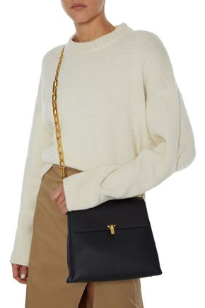 The Volon THE VOLON WOMAN PO DAY SMOOTH AND PEBBLED-LEATHER SHOULDER BAG BLACK