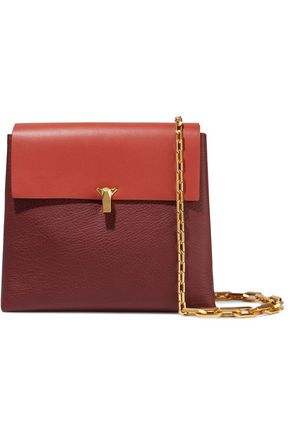 THE VOLON PO Day two-tone smooth and pebbled-leather shoulder bag