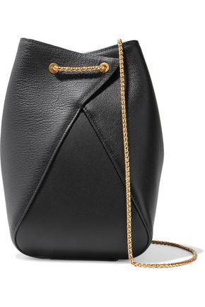 THE VOLON Smooth and textured-leather bucket bag