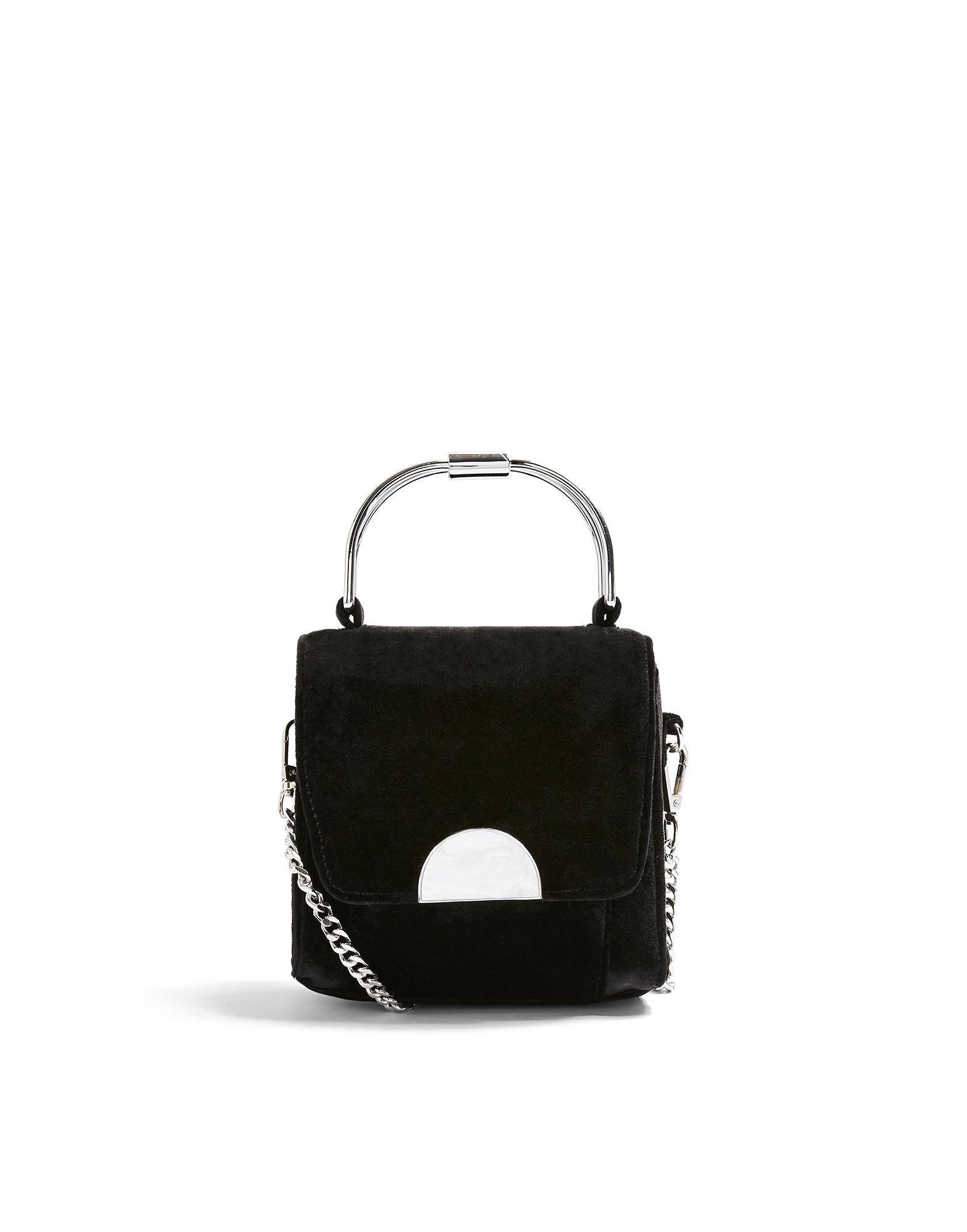 《セール開催中》TOPSHOP レディース ハンドバッグ ブラック ポリエステル 100% OLIVIA BLACK VELVET CROSS BODY BAG