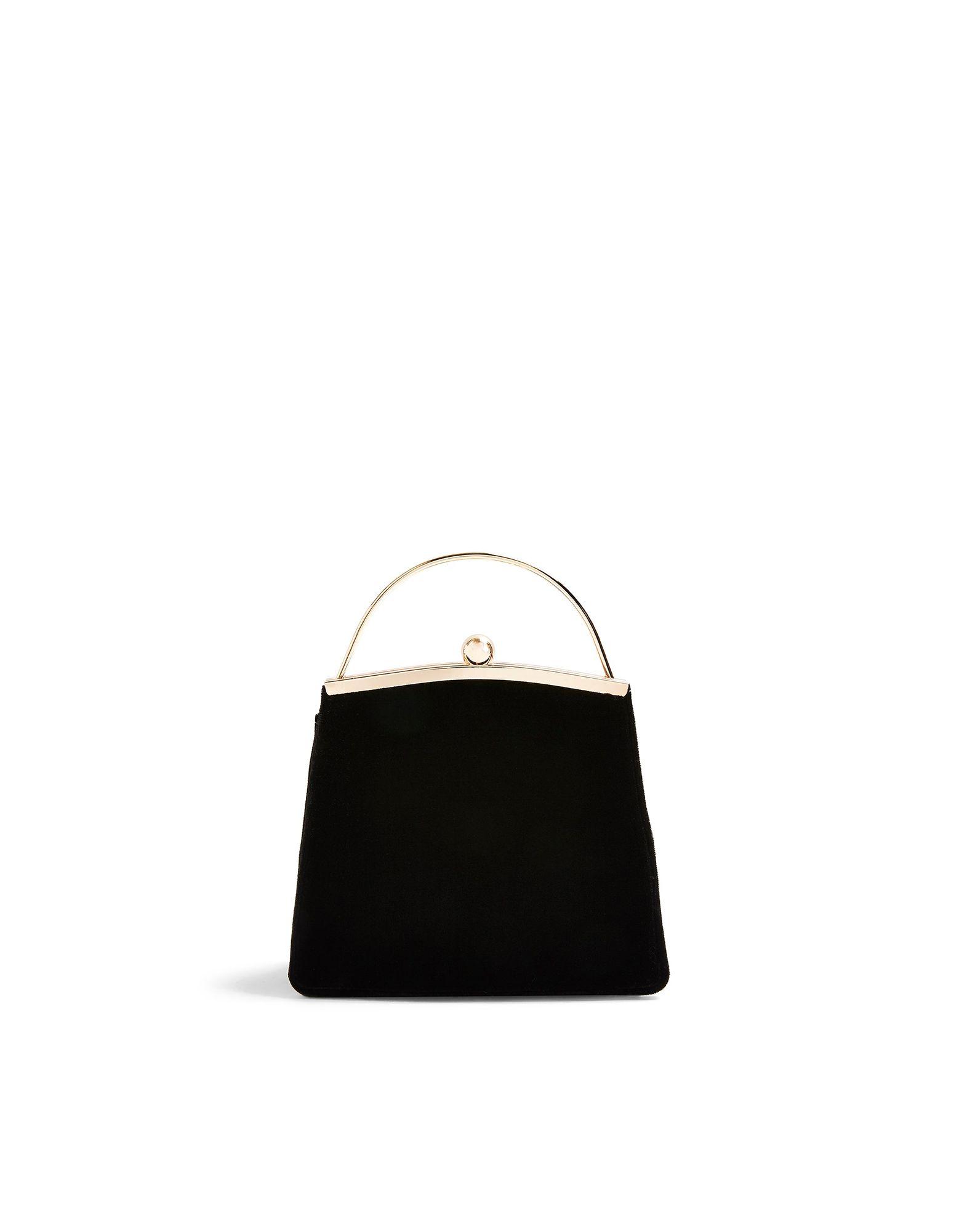 《セール開催中》TOPSHOP レディース ハンドバッグ ブラック ポリエステル 100% GARLAND BLACK VELVET BAG