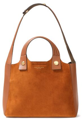 TORY BURCH Leather-trimmed suede shoulder bag