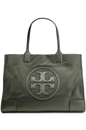 TORY BURCH Leather logo-embellished shell tote