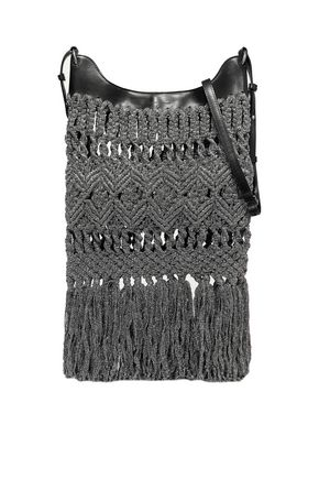ISABEL MARANT Teomia fringed metallic crocheted and leather shoulder bag