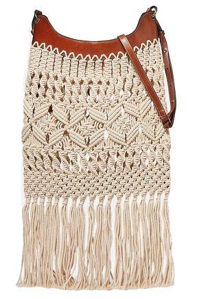 ISABEL MARANT Teomia leather-trimmed fringed macramé shoulder bag