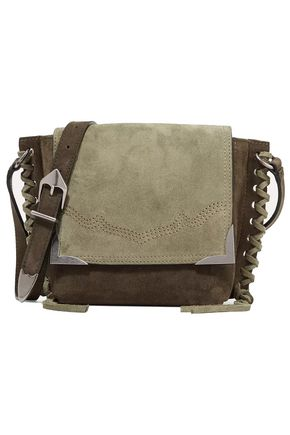 ISABEL MARANT Kleny whipstitched two-tone suede shoulder bag