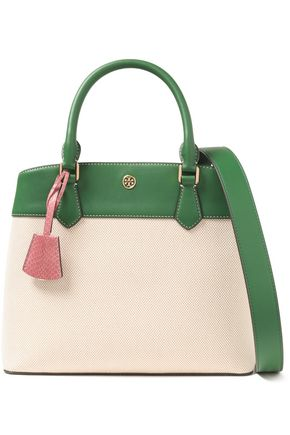 TORY BURCH Leather-trimmed canvas shoulder bag