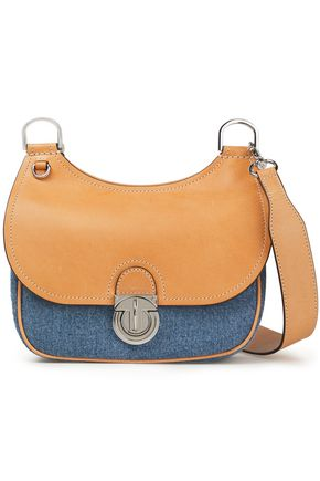 TORY BURCH Leather-paneled two-tone denim shoulder bag