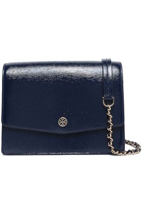 TORY BURCH Cracked patent-leather shoulder bag