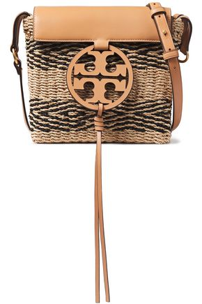 TORY BURCH Leather-paneled striped straw shoulder bag