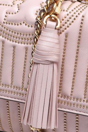 TORY BURCH Fringe-trimmed studded quilted leather shoulder bag