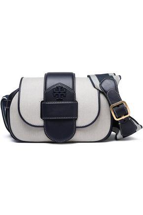 TORY BURCH Leather-trimmed logo-appliquéd canvas shoulder bag