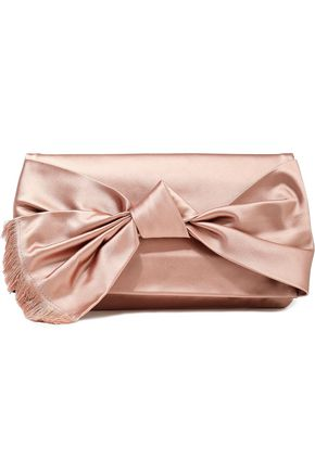 TORY BURCH Frayed bow-embellished satin clutch