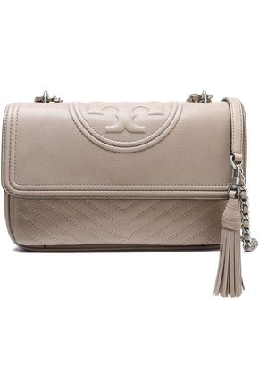 TORY BURCH Logo-embossed quilted leaher shoulder bag