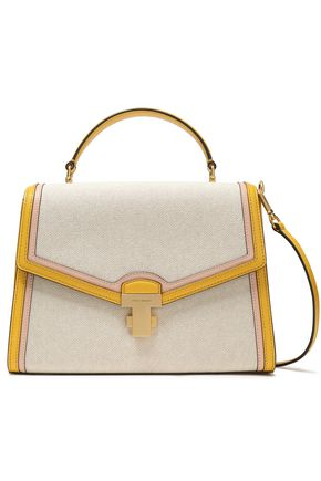 TORY BURCH Leather-paneled canvas shoulder bag