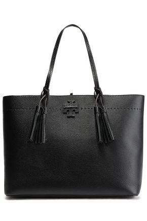 TORY BURCH McGraw tassel-trimmed logo-embellished textured-leather tote
