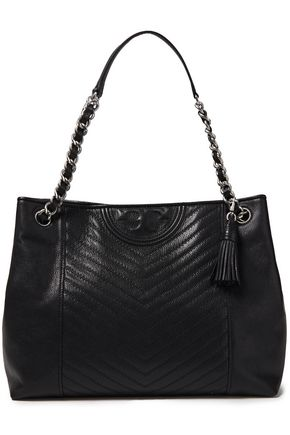 TORY BURCH Chain-trimmed quilted textured-leather tote